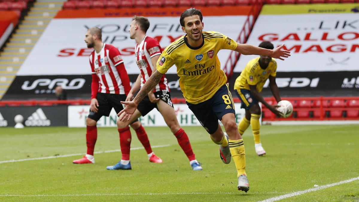 Ceballos celebra un gol con el Arsenal. (Getty)