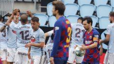 Los jugadores del Celta celebran el 2-2 ante el Barcelona. (EFE)