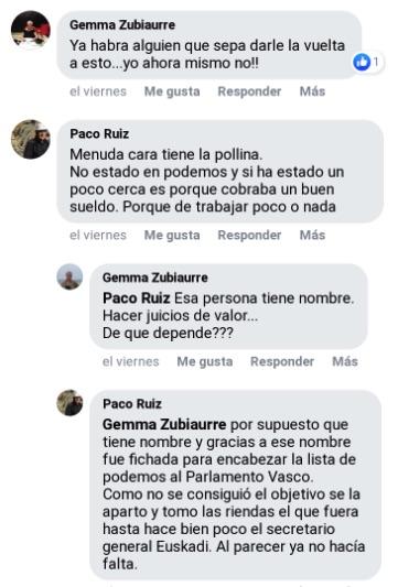 Bronca en Podemos del País Vasco: «¡Menuda cara tiene la pollina, de trabajar poco o nada!»