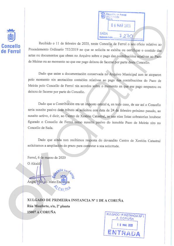 El Ayuntamiento de Ferrol desmonta la tesis de la Abogacía: nunca pagó el IBI del Pazo de Meirás