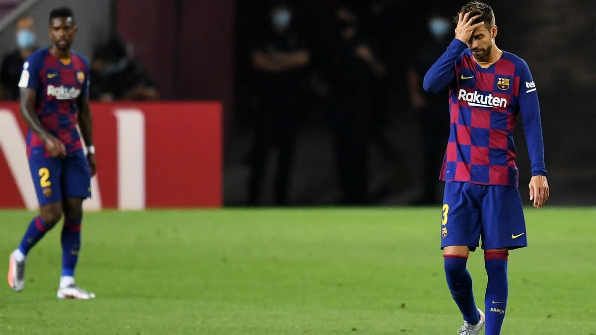 Piqué, durante el Barcelona – Atlético. (Getty)