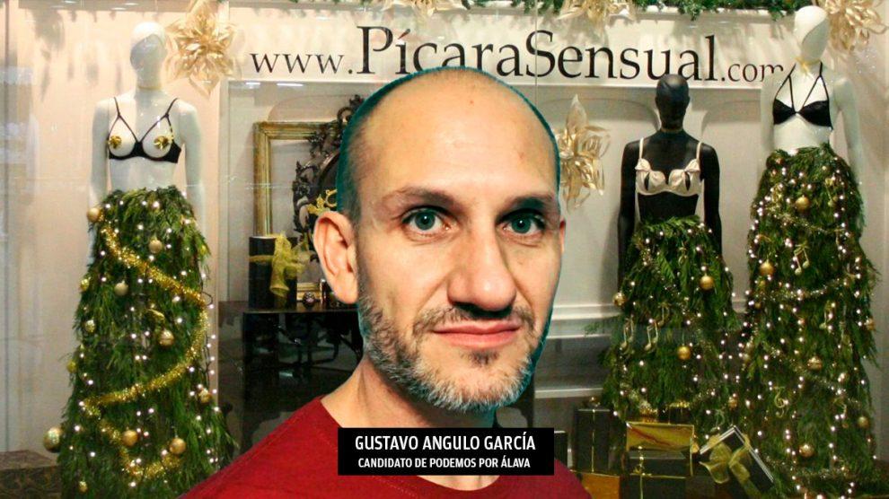 Gustavo Angulo García y la tienda de juguetes eróticos que tenía en Vitoria. (Foto: Podemos / Cámara de Álava)