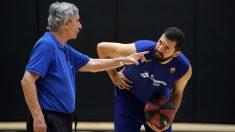 Pesic y Mirotic, en un entrenamiento. (ACB)