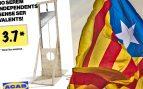 El separatismo exhibe una guillotina para anunciar una «acción sorpresa» contra la Policía este viernes