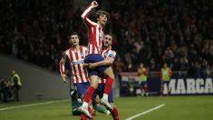 Koke, Joao Félix y Morata celebran un gol del luso esta temporada. (Getty)