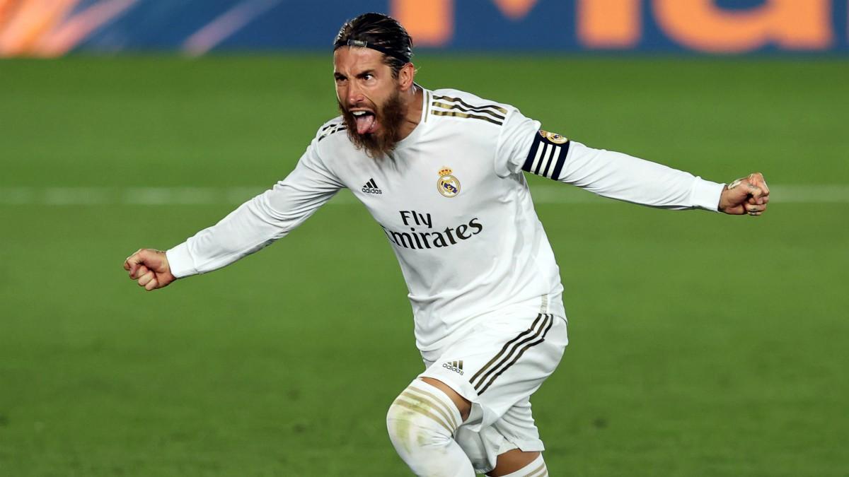 Sergio Ramos celebra un gol. (Getty)