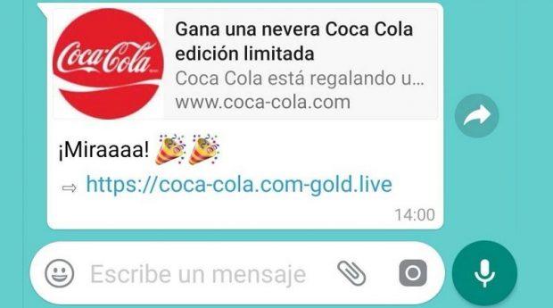 Captura de pantalla del mensaje de la estafa de las neveras de Coca-Coca