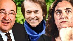 Iceta, Raphael y Colau, protagonistas de la campaña.