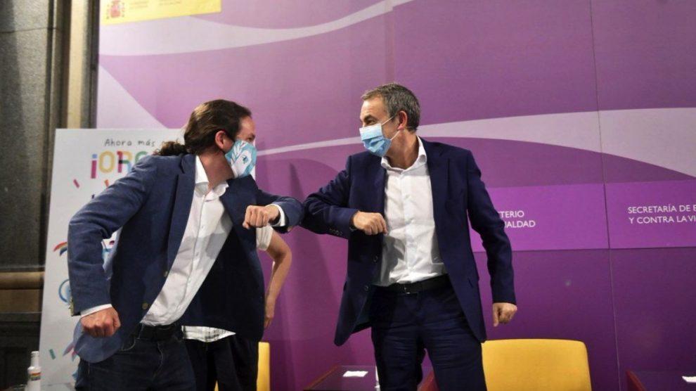 Pablo Iglesias y José Luis Rodríguez Zapatero. (Foto: Podemos)