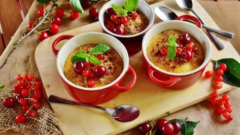 Crème brûlée de cerezas sin gluten
