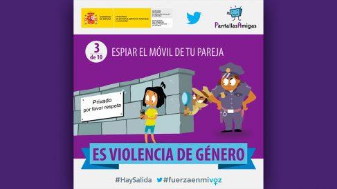 La campaña puesta en marcha en marzo de 2017 por el Ministerio de Sanidad e Igualdad sobre la «violencia de género digital».
