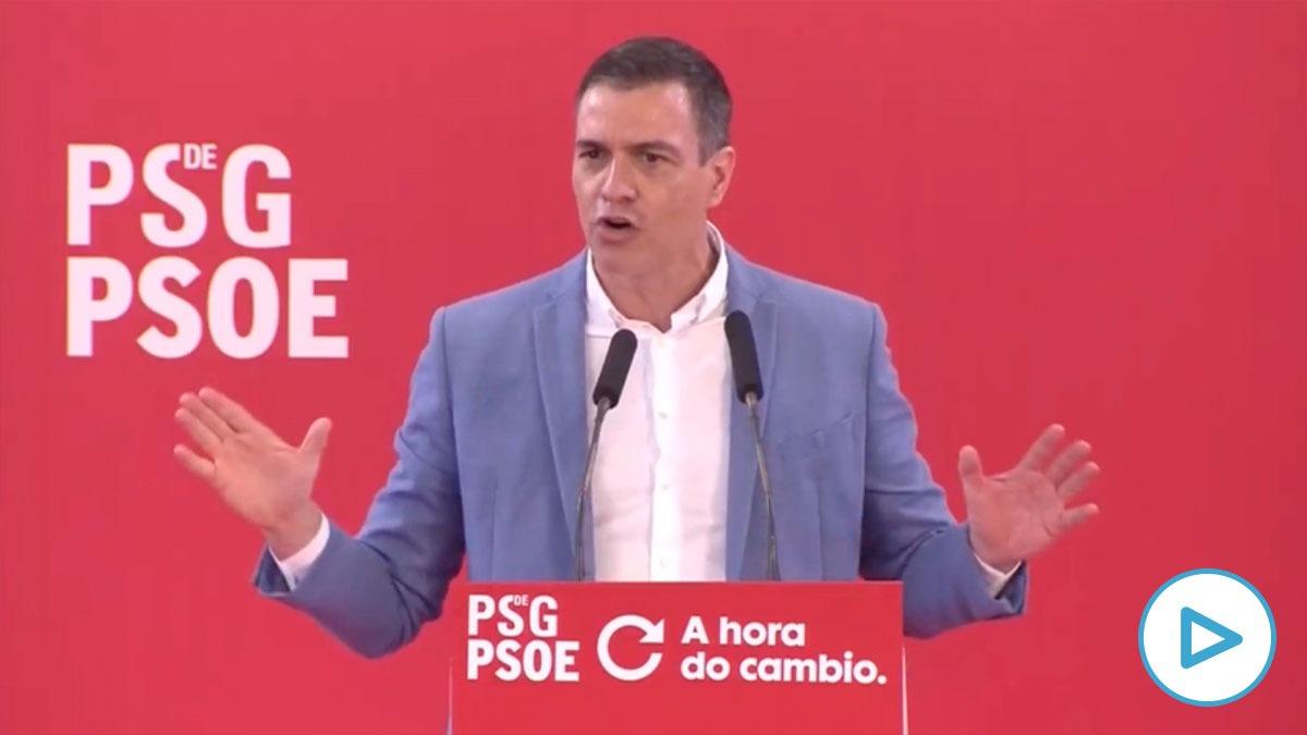 Pedro Sanchez en un mitin del PSOE en Galicia este sábado.