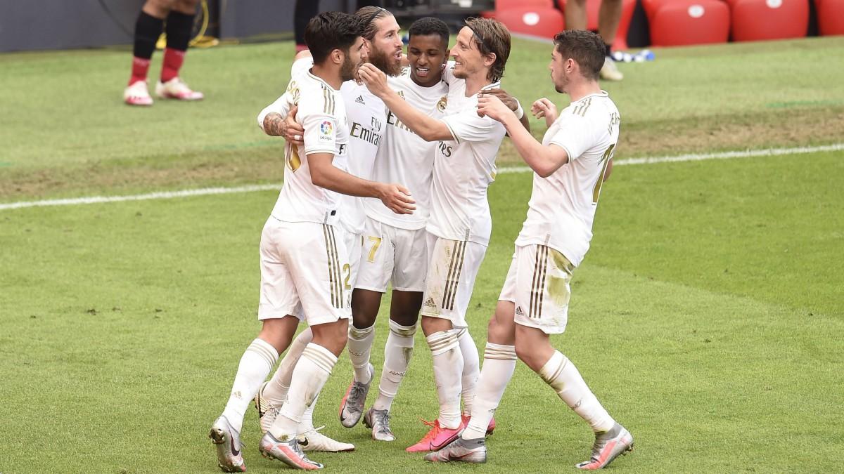 El Real Madrid celebra un gol. (Getty)