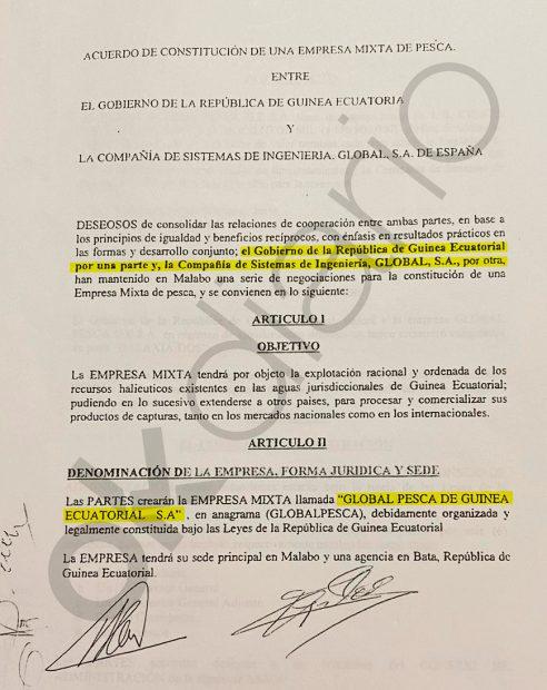 Constitución de la empresa mixta guineana Globalpesca, donde participó el Gobierno de Teodoro Obiang y Alfonso Caneiro.