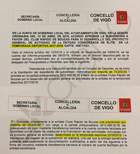 Las dos subvenciones otorgada por Abel Caballero al club de fútbol donde Alfonso Caneiro es vicepresidente.