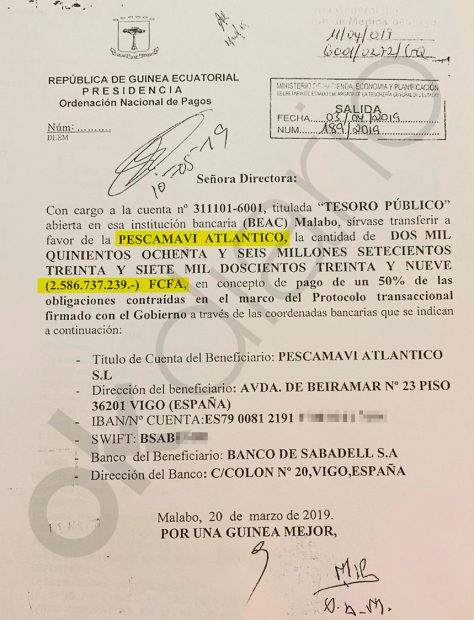 El segundo pago de del Gobierno de Guinea al empresario Alfonso Caneiro por valor de 3.943.197 euros.