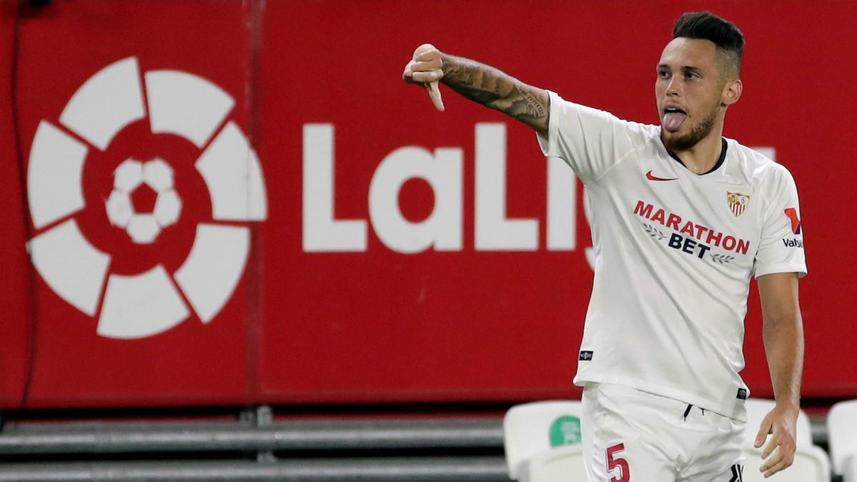 Ocampos celebra el gol. (EFE)