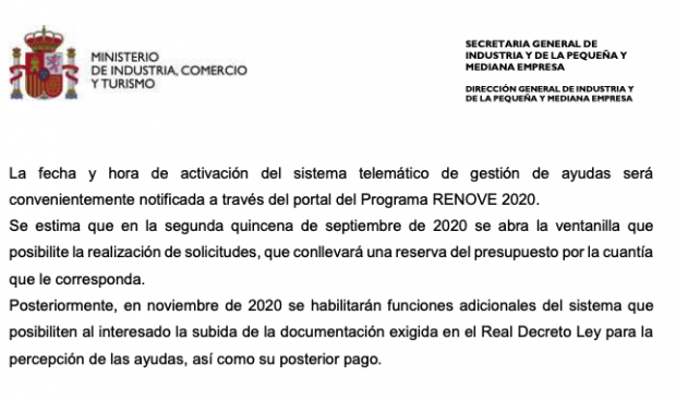 Sánchez aprueba las ayudas a la compra de coches pero no habilitará la web para cobrarlas hasta noviembre
