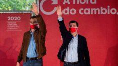 Pedro Sánchez en un acto de campaña con Gonzalo Caballero en Galicia. Foto: EFE