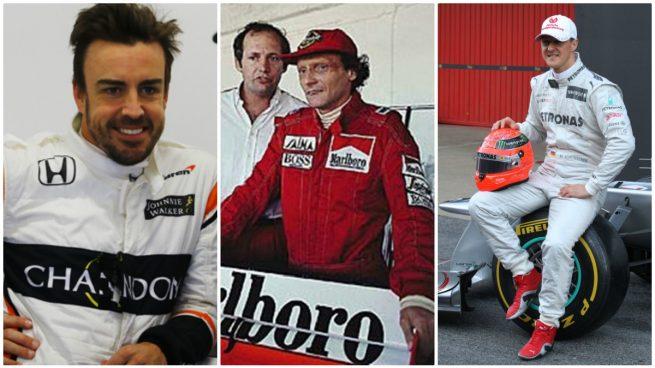 Fernando Alonso, Niki Lauda y Michael Schumacher