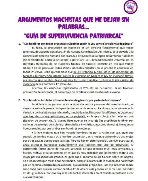 Adoctrinamiento feminista en Sevilla: una profesora reparte en su instituto la «guía de supervivencia patriarcal»