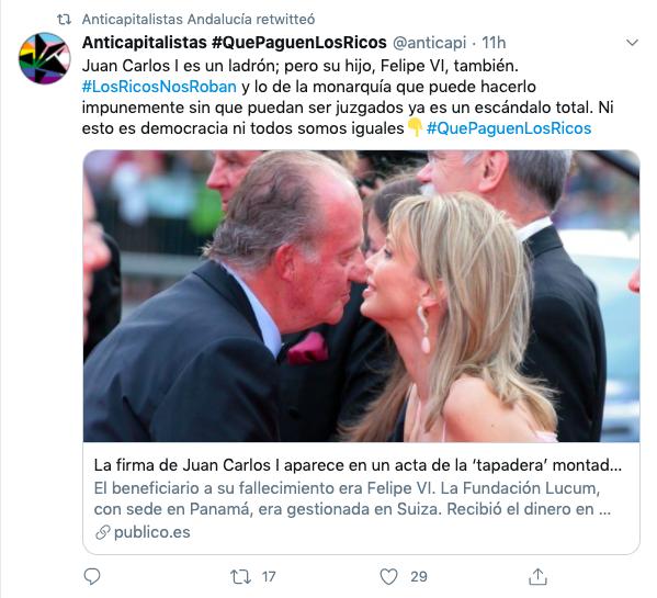 Anticapitalistas retuitea una cuenta filial que carga duramente contra el Rey.