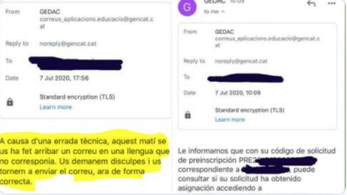 Los correos del Departamento de Educación de la Generalitat en los que pide disculpas por usar el español: «Una lengua que no correspondía».