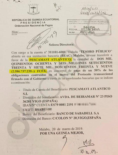 Segundo pago del Gobierno de Guinea al empresario Alfonso Caneiro por valor de 3.943.197 euros.