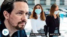 Pablo Iglesias con Dina Bousselham y la abogada de Podemos Marta Flor