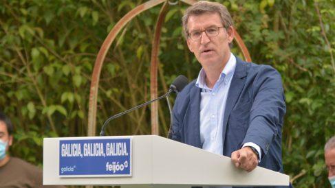 Feijóo en una imagen de archivo durante un mitin en Ourense. (Europa Press)