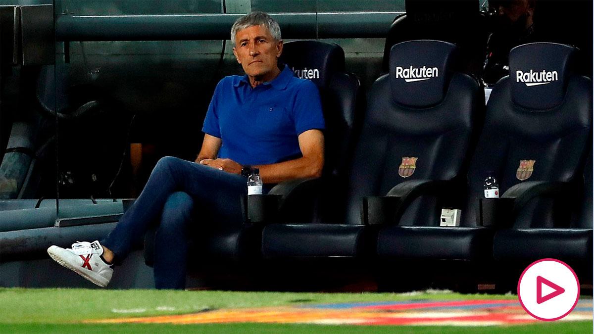 Quique Setién, durante un partido del FC Barcelona (AFP)