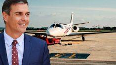 Pedro Sánchez con un jet privado utilizado para viajar a Palma