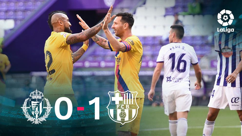 El Barcelona venció al Valladolid gracias a un gol de Vidal. (Getty)
