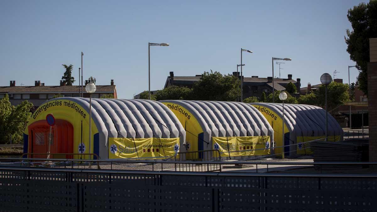 Hospital de campaña en Lérida. Foto: Europa Press