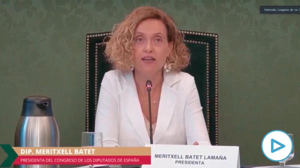 La presidenta del Congreso, Meritxell Batet, en la reunión telemática con la Cámara de Diputados de México.