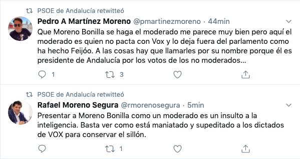 Tuits del PSOE de Andalucía.