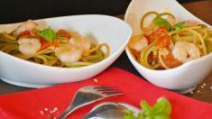Espaguetis con salsa de langostinos picantes (1)