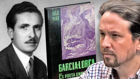 Pablo Iglesias junto a su abuelo Manuel Iglesias Ramírez y el libro que escribió sobre Lorca