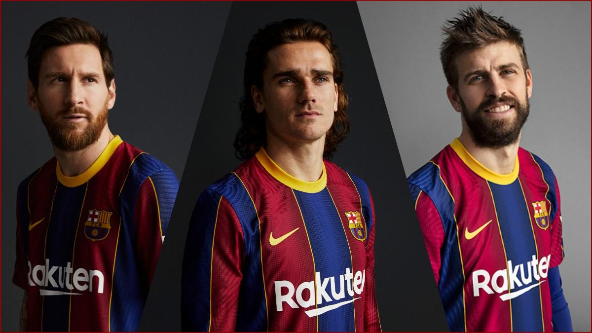 Messi, Griezmann y Piqué posan con la nueva camiseta del Barça. (Fotos: fcbarcelona.cat)
