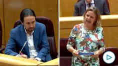 La senadora del PP María Salom en su pregunta a Pablo Iglesias en la sesión de control al Gobierno.
