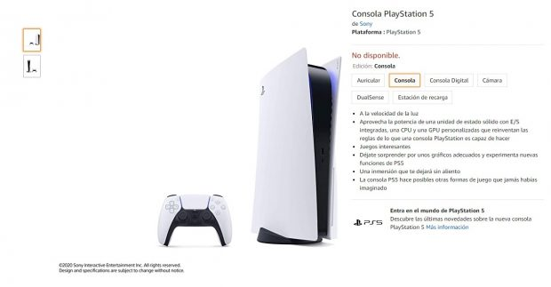 Sony PS5 en Amazon