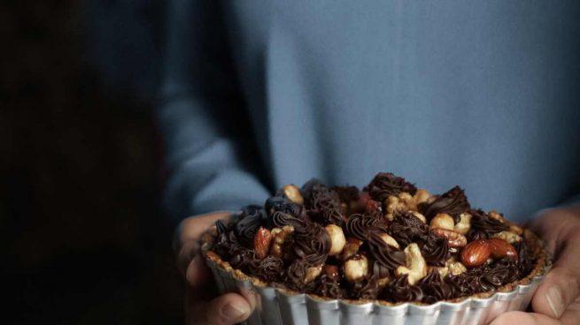 Toffee de almendras y chocolate