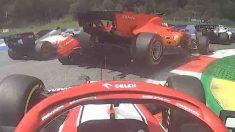 Vettel tras colisionar con Leclerc. (Captura de pantalla)