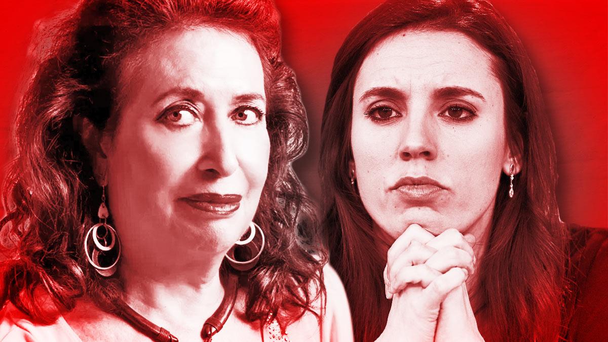 Lidia Falcón, presidenta del Partido Feminista, e Irene Montero, ministra de Igualdad.
