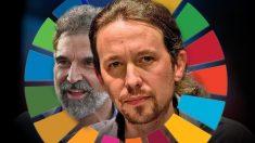 El vicepresidente Pablo Iglesias, el preso Jordi Cuixart y el logo de la Agenda 2030.
