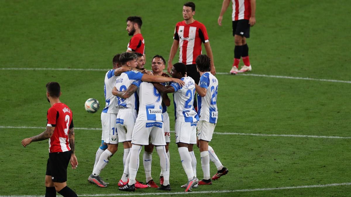 El Leganés celebra uno de los goles ante el Atheltic. (EFE)