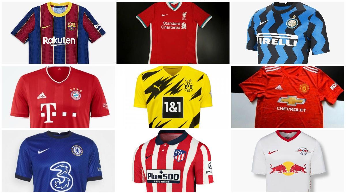 Algunas de las nuevas camisetas de los grandes clubes de Europa.