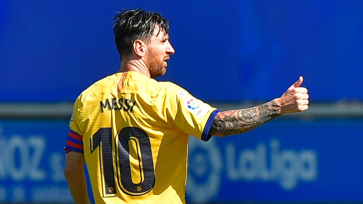 Leo Messi, durante el Alavés-Barcelona. (AFP)