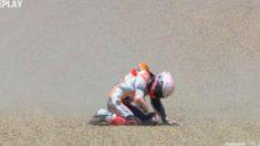 Márquez, tras su aparatosa caída. (DAZN)