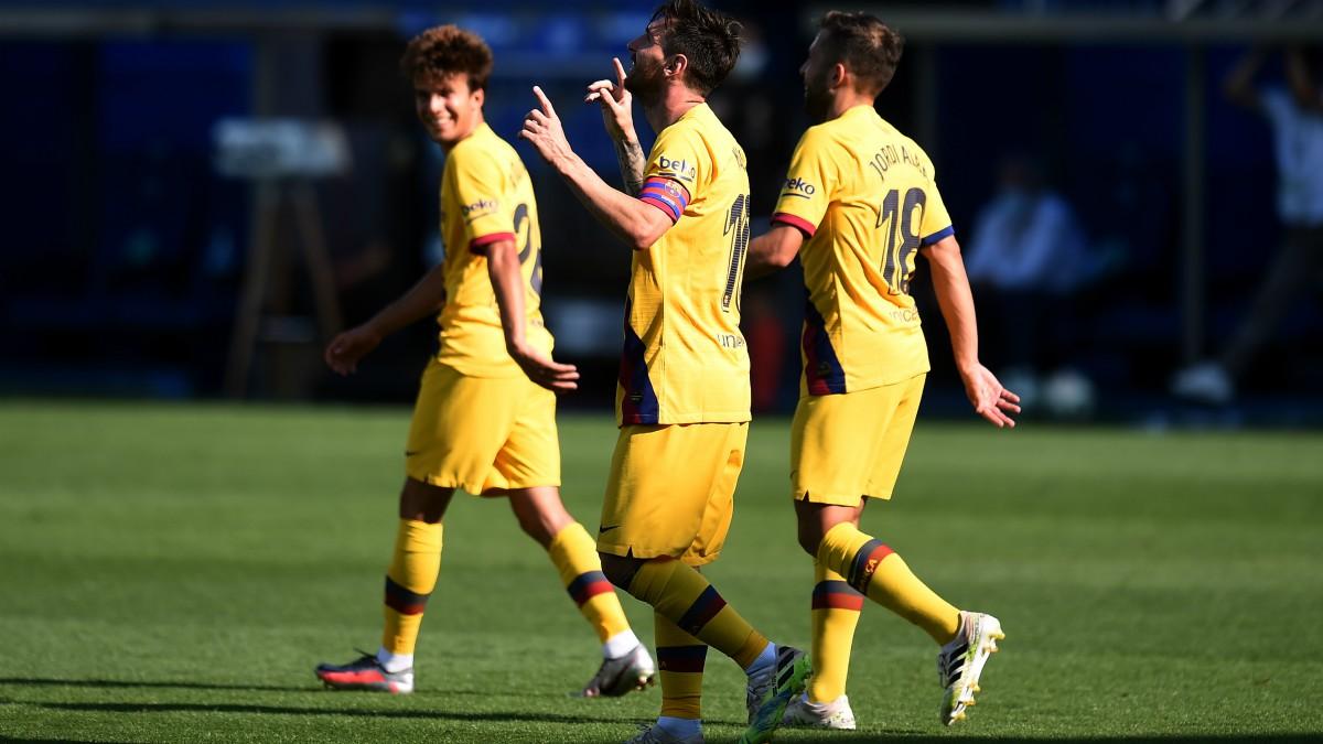Messi celebra un gol contra el Leganés. (Getty)